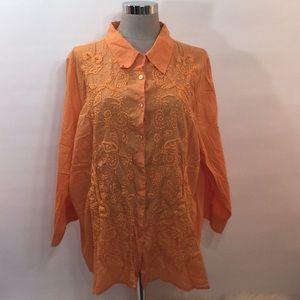 AVENUE Plus Size 26/28 Orange Embroidery Shirt Top